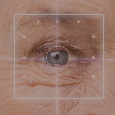 Elderly eye looking at viewer