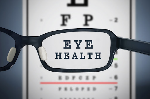 Glasses in front of eye chart with the words EYE HEALTH visible through lens